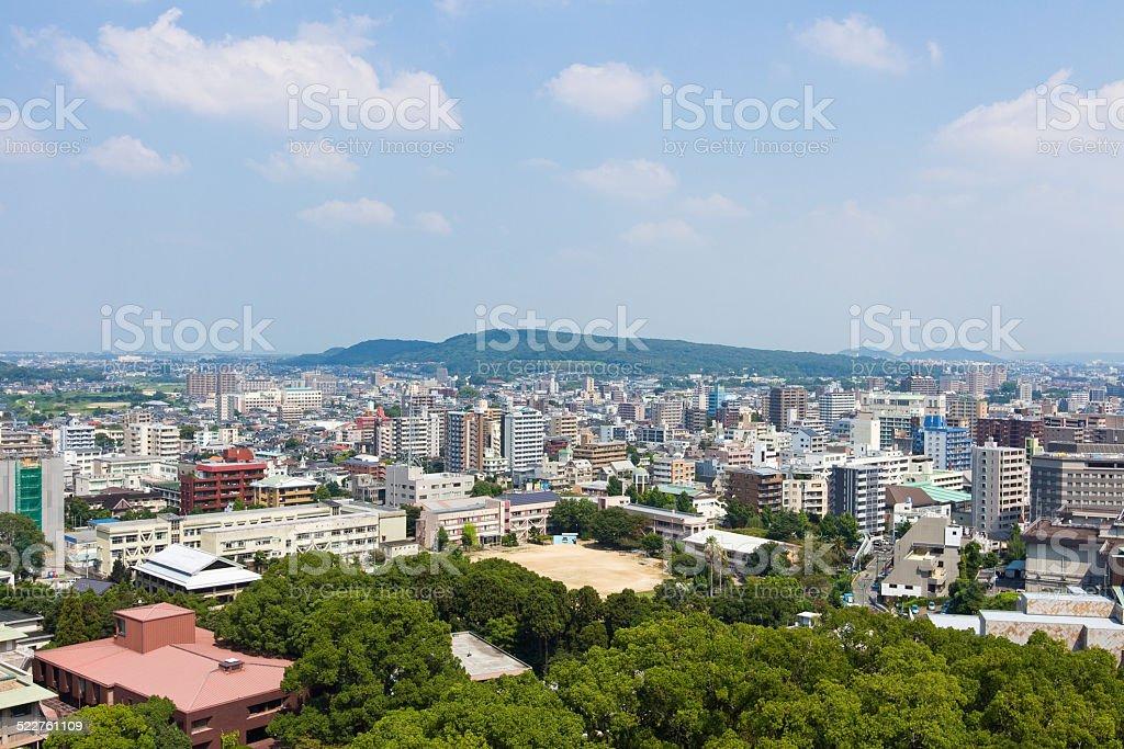 Kumamoto Castle top view in Kumamoto Japan stock photo