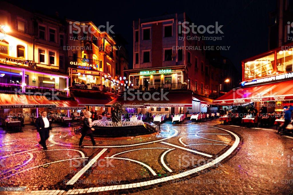Kumkapi by night, Istanbul stock photo