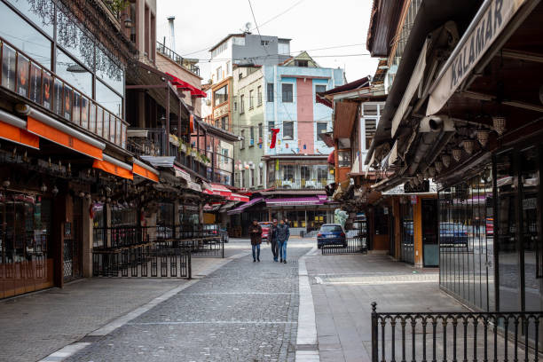 Kumkapi streets that are empty compared to normal days,Istanbul. stock photo