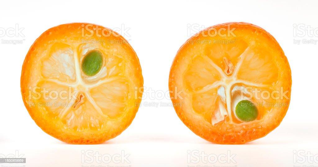 Kumquat cross sections stock photo