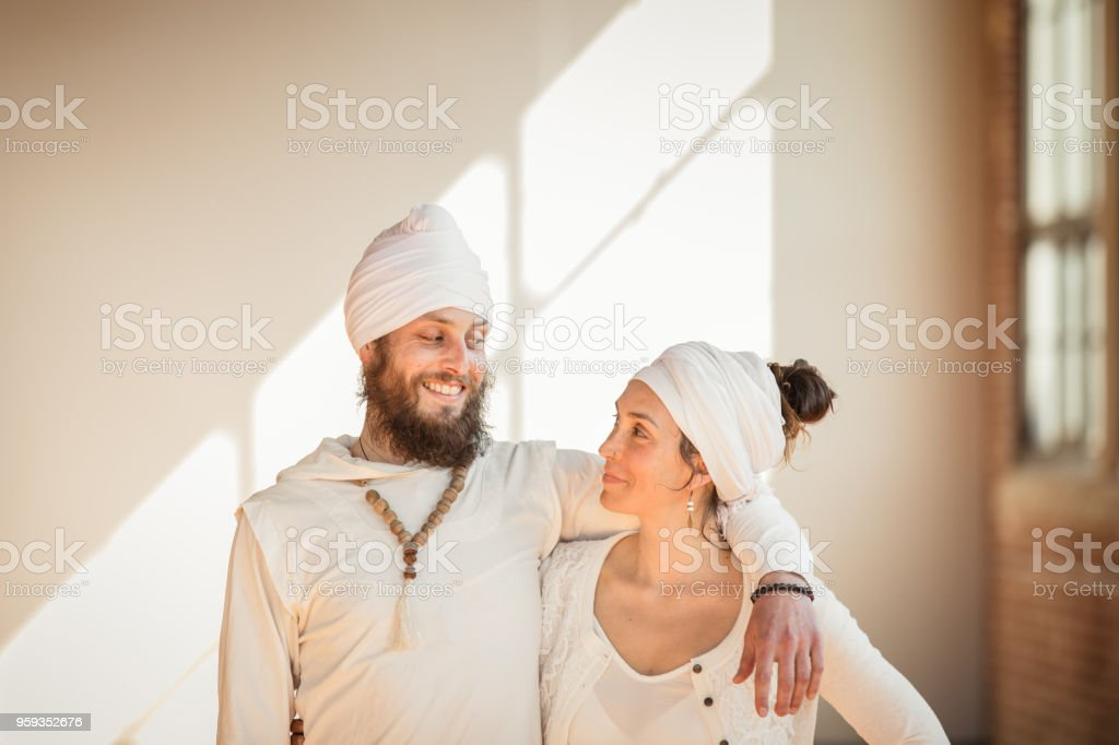 Kundalini Wedding. A couple getting married stock photo