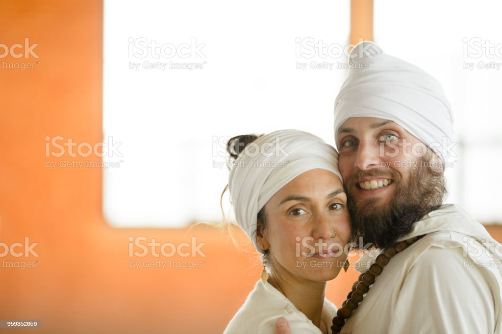 Kundalini Wedding in traditional clothing. Lovers stock photo