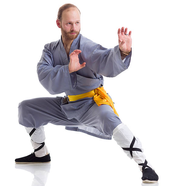 Chinese Students Practicing Shaolin Kung Fu Stock Photo
