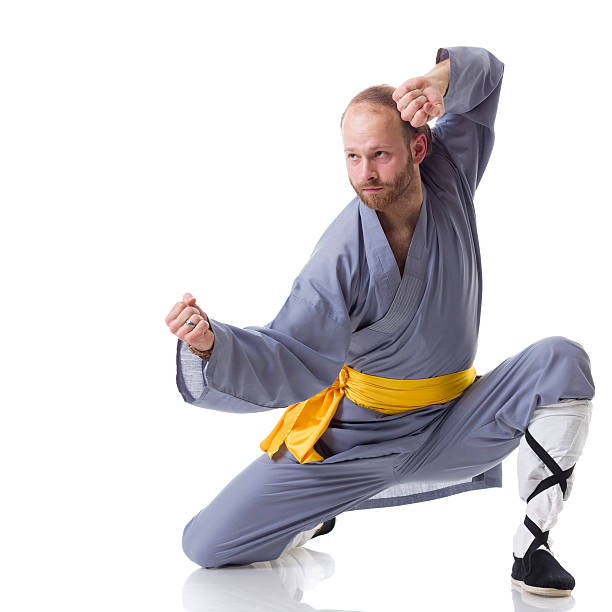 Man Doing Kung Fu Pose With Vacuum Cleaner Stock Photo