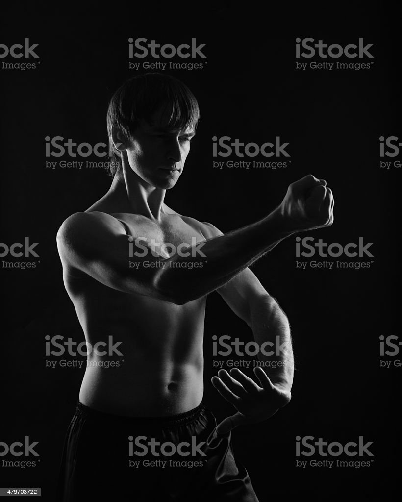 Kung Fu kata kick and block. stock photo