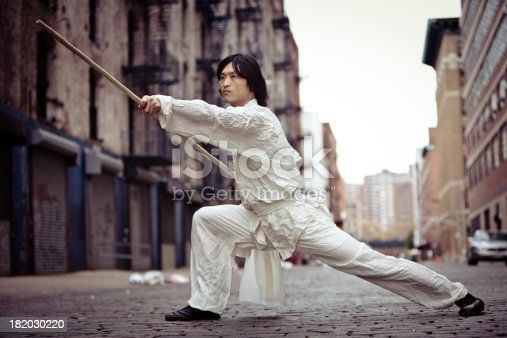 A kung fu martial artist training with his Shaolin Staff in a grungy alley way in New York City.