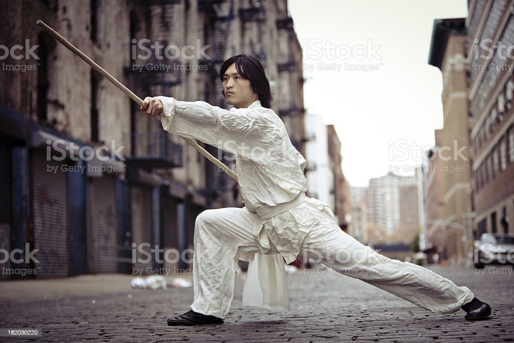 Kung fu martial artist training in an alley stock photo