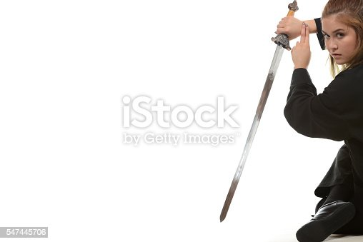 Martial artist with straight sword.