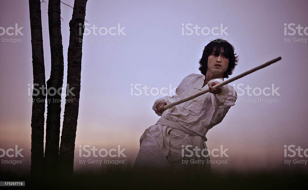 Kung fu warrior in training at sunset stock photo