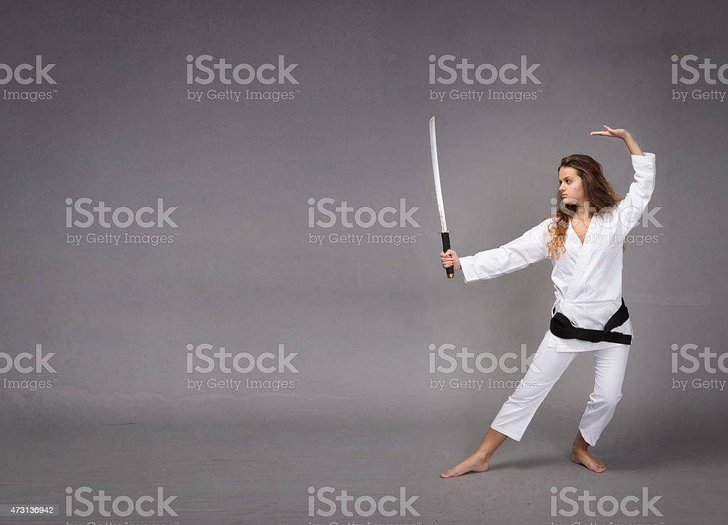 kung fu with katana on hand stock photo