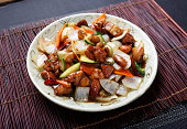 """""""Chinese dish, Kung Pao chicken made zucchini squash, Carrot, Onion and Chicken"""""""