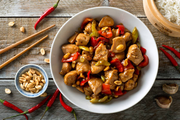 kung pao chicken - peanut food stock photos and pictures
