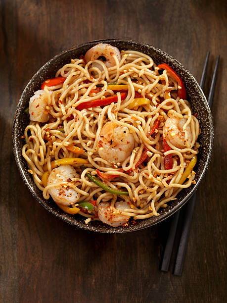 kung pao shrimp - chinese food stock photos and pictures