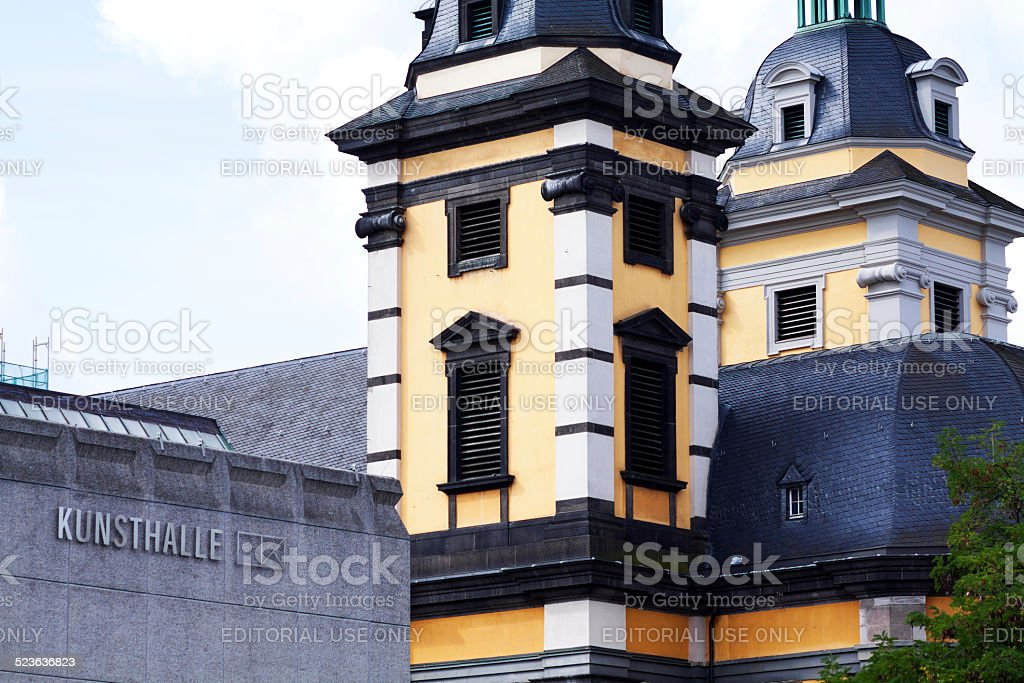 Kunsthalle Düsseldorf and church St. Andreas stock photo
