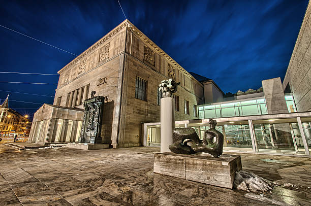 Kunstmuseum in Zurich by night. Switzerland. Zurich, Switzerland - February 16, 2013: Kunstmuseum (Museum of Modern Art) in Zurich by night. Switzerland. zurich stock pictures, royalty-free photos & images