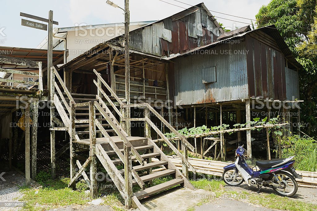 Kupo Saba longhouse in Kuching, Malaysia. stock photo