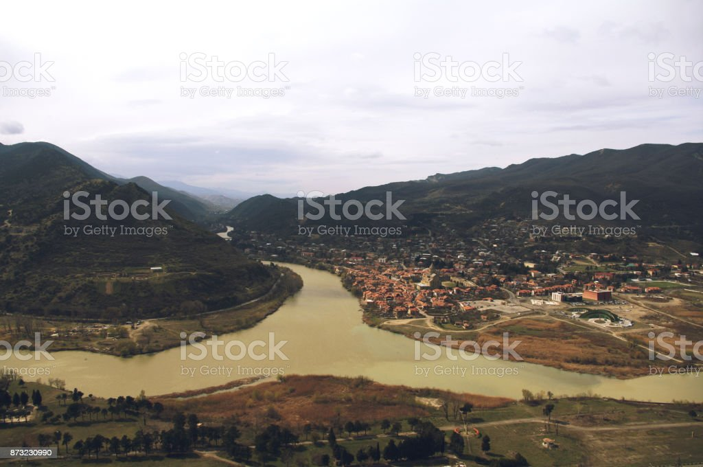 Kura and Aragvi rivers near Mtskheta, Georgia stock photo