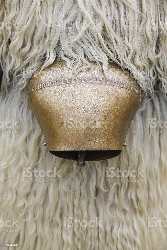 Kurent's cow bell and sheep's wool royalty-free stock photo
