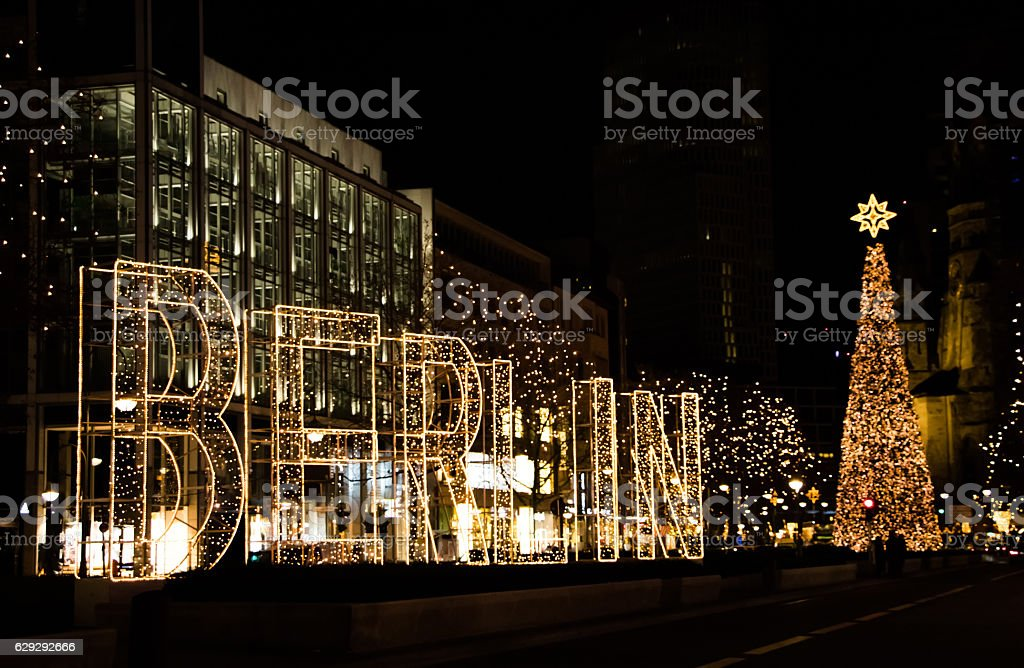 Kurfurstendamm street in Berlin with Christmas decoration and ta stock photo
