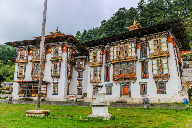 Kurjey Lhakhang: The Temple of Imprints in  Bumthang valley, Bhutan. stock photo