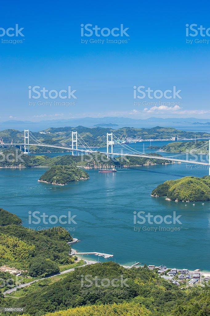 Kurushima Bridges in Seto Inland Sea, Japan photo libre de droits
