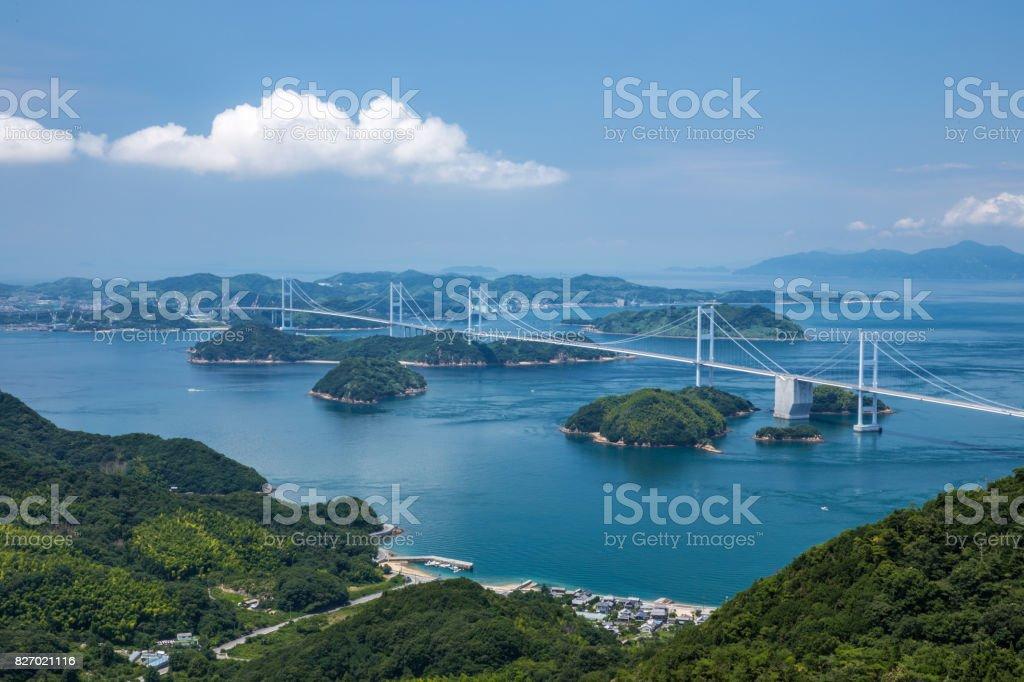 Kurushima Bridges in Seto Inland Sea, Japan stock photo