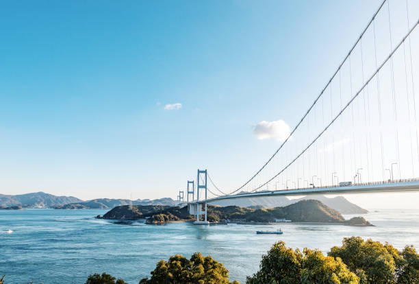Kurushima kaikyo bridge Kurushima kaikyo bridge in ehime, Japan hiroshima prefecture stock pictures, royalty-free photos & images
