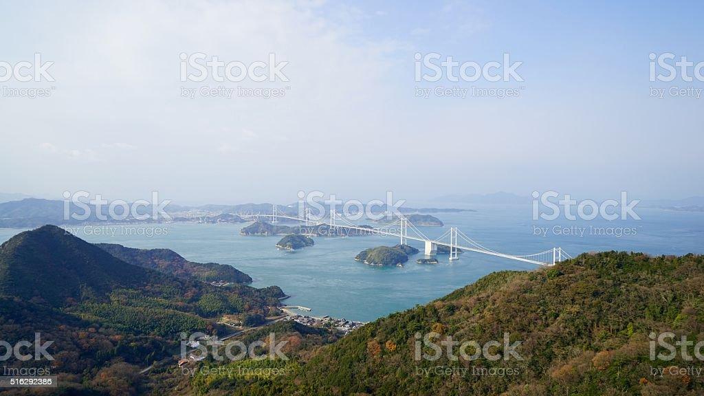 Kurushima-Strait seen from Kirousan park observatory stock photo
