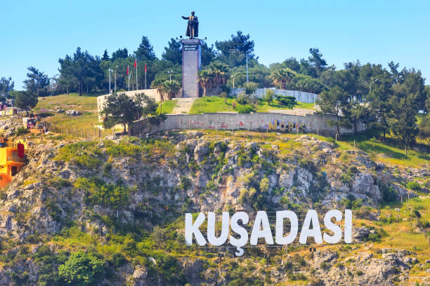 Kusadasi, Turkey city name sign stock photo