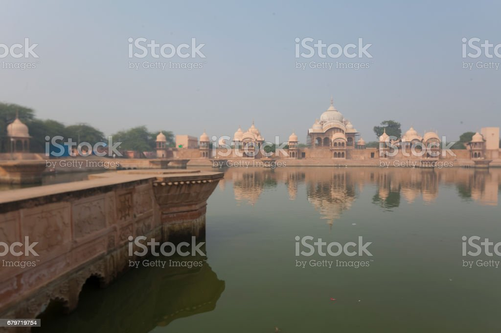 Kusum Sarovar Govardhan Mandir. This lake is one of the most visited places in Mathura. Next to it there are numerous temples and ashrams. Uttar Pradesh, India. stock photo