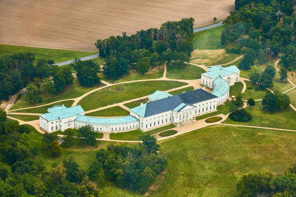 Kutna Hora, Czechia - 8/25/2019: Aerial photo of Kacina castle surrounded by parks and meadows stock photo