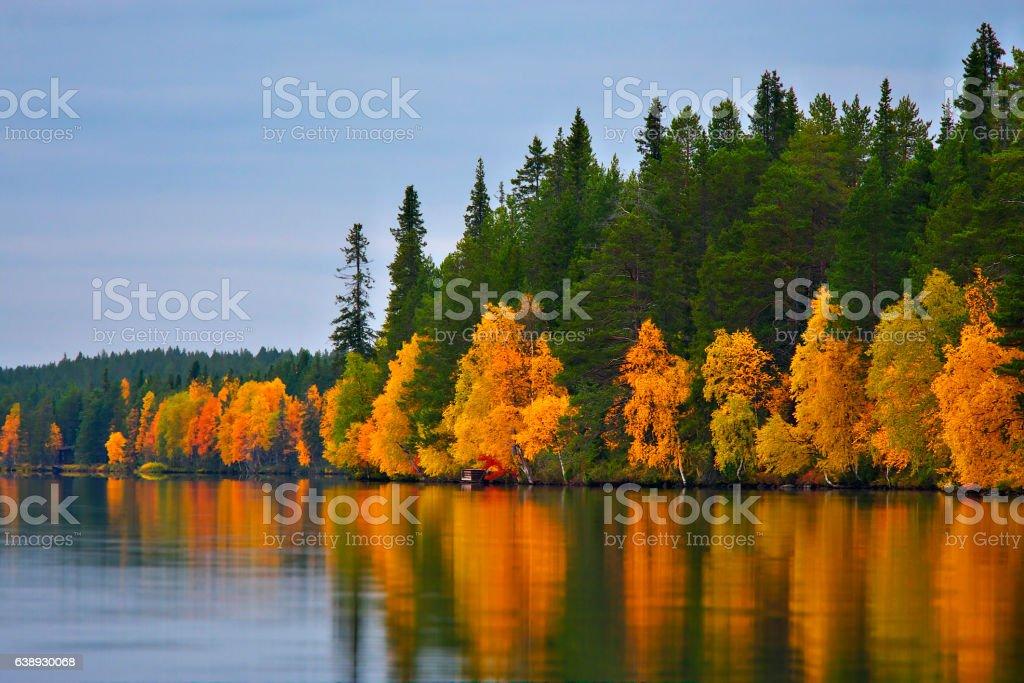 Kuusamo Lake in autumn. stock photo