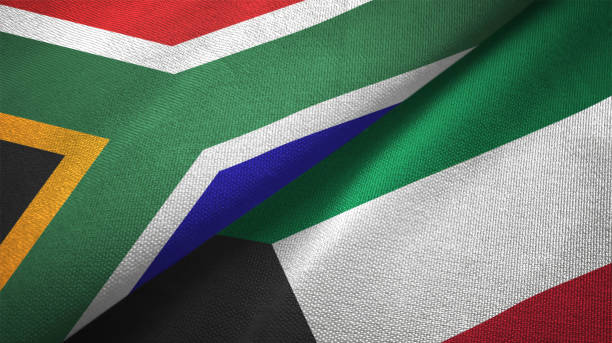 kuwait and south africa two flags together textile cloth fabric texture - kuwait currency stock photos and pictures