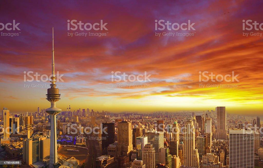 Kuwait City During Sunset stock photo