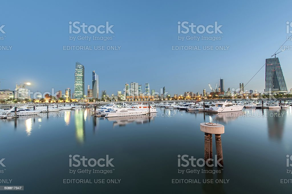 Kuwait City Skyline is rapidly populated by skyscrapers. stock photo