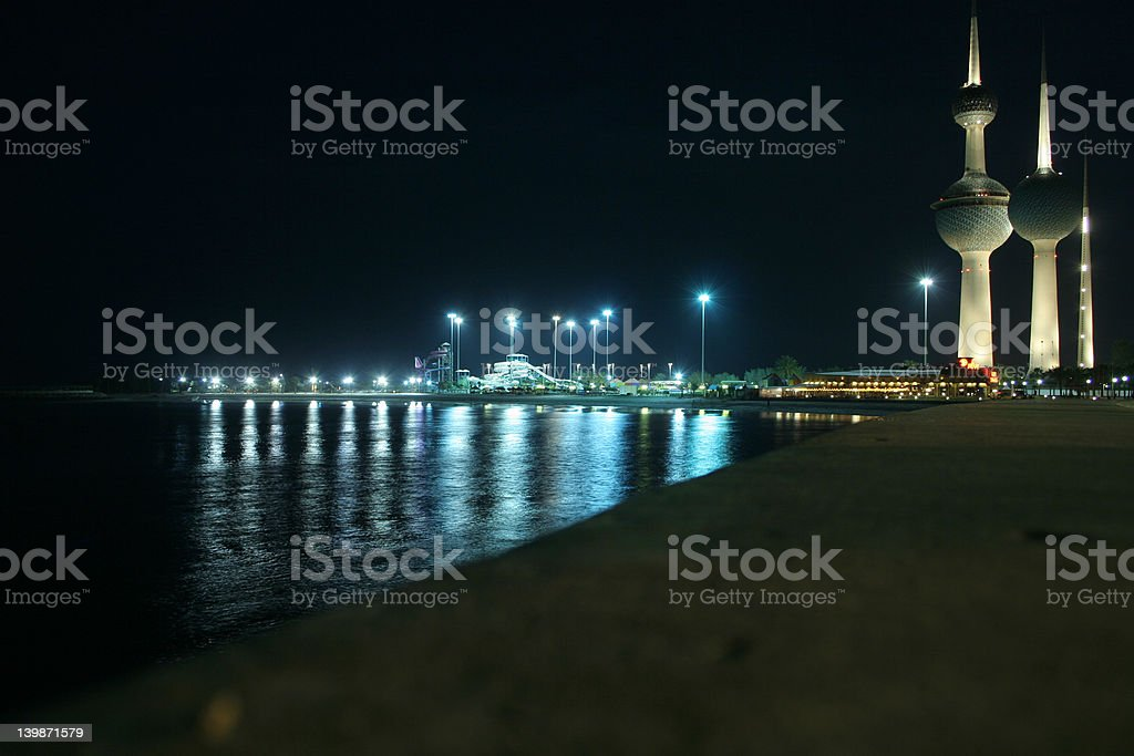 Kuwait city & towers by the night royalty-free stock photo