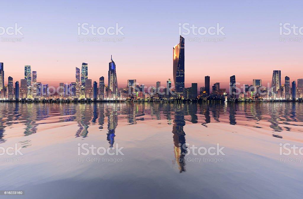 kuwait cityscape stock photo