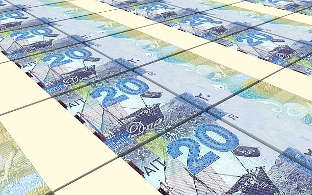 kuwait dinars bills stacks background. - kuwait currency stock photos and pictures
