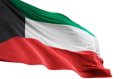 Kuwait flag close-up waving isolated white background realistic 3d illustration