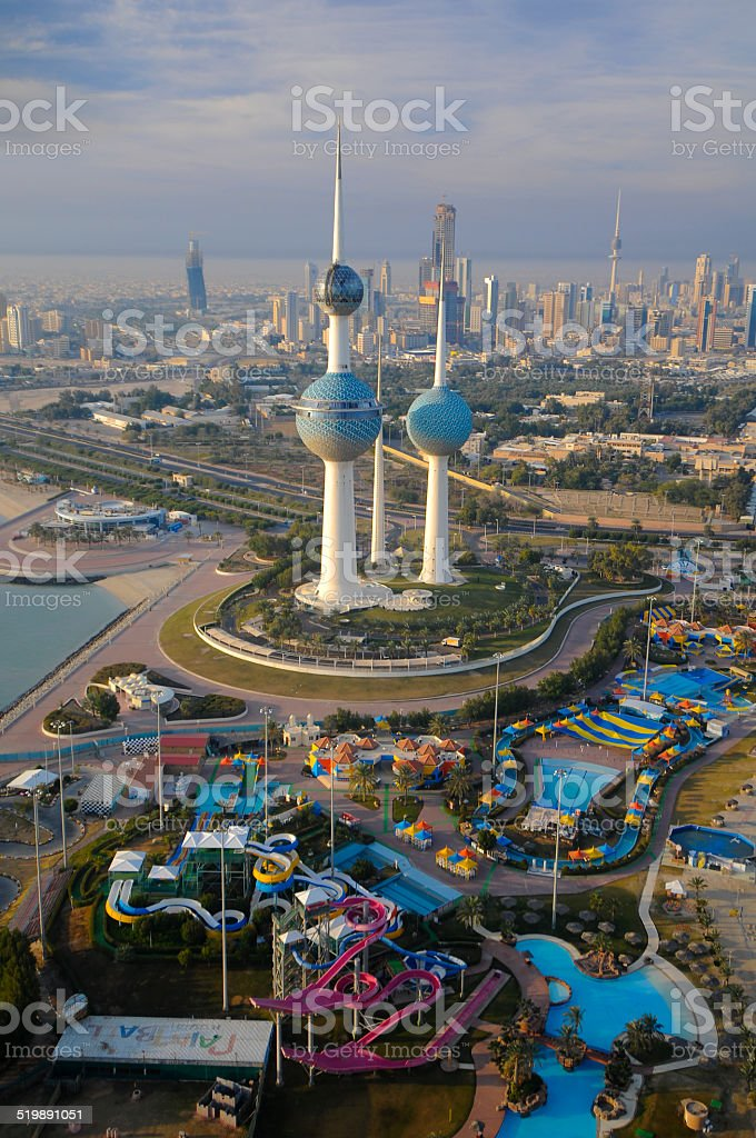 kuwait from the sky stock photo