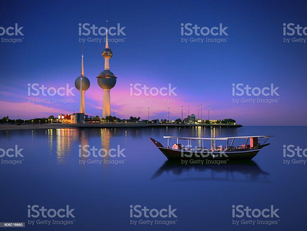 kuwait, landmarks, night, sunset, dusk, blue, boat, tower, calm stock photo