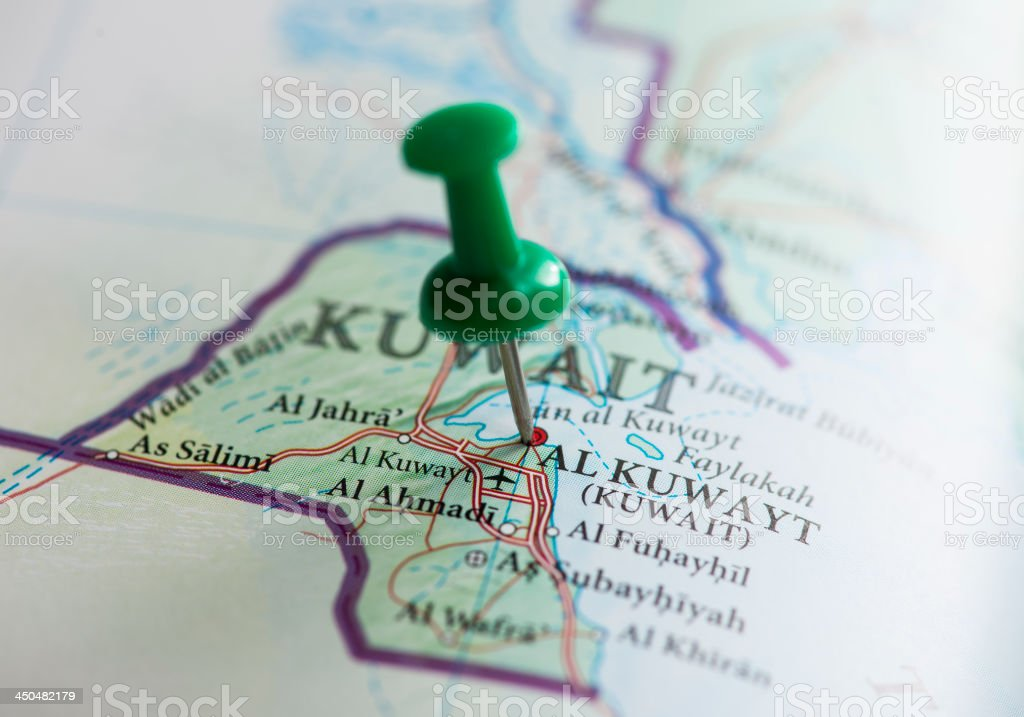 Kuwait Marked on Map with green Pushpin royalty-free stock photo