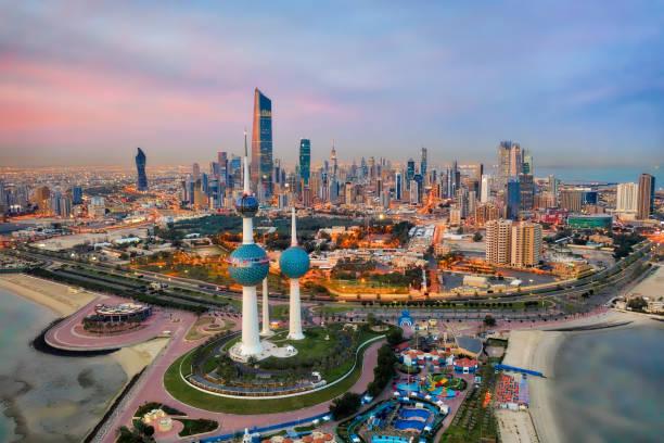 Kuwait Tower City Skyline glowing at night, taken in Kuwait in December 2018 taken in hdr stock photo