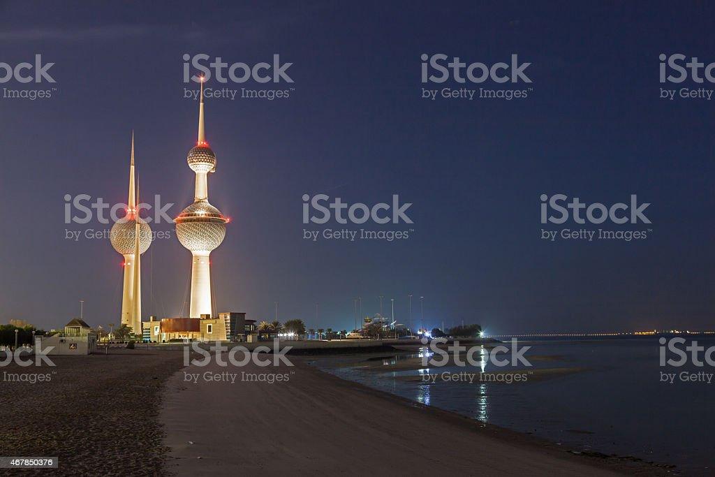 Kuwait Towers at night stock photo