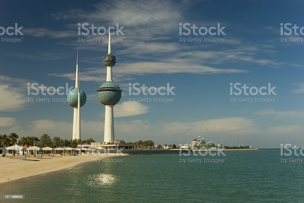 Kuwait Towers Kuwait Towers, A Kuwaiti national landmark. The highest tower has a viewing sphere for observation and a restaurant. The other tower serves as a water tower. Now it is fully restored again after the destruction by Iraqi invaders several years ago. Arabic Style Stock Photo