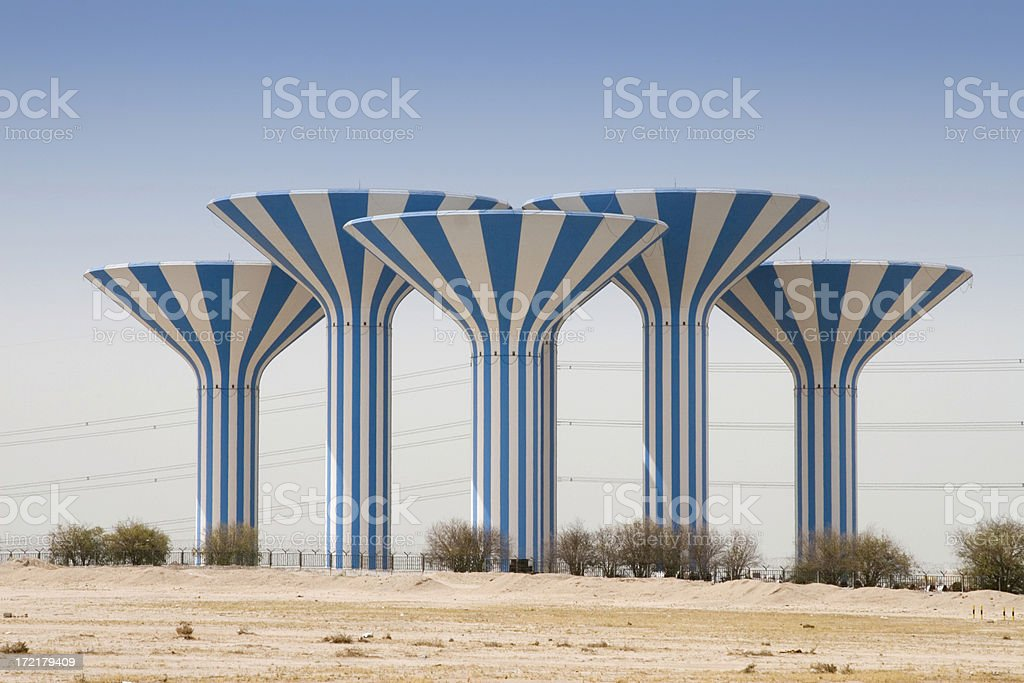 Kuwait watertowers stock photo