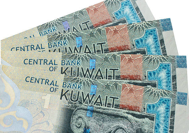kuwaiti dinar banknote. - kuwait currency stock photos and pictures