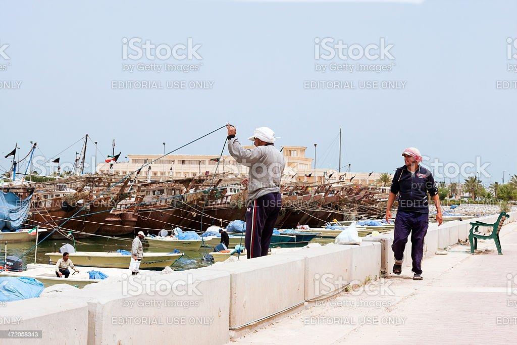 Kuwaiti fishermen royalty-free stock photo