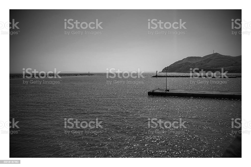 Kuzu port in Gökceada,Canakkale stock photo