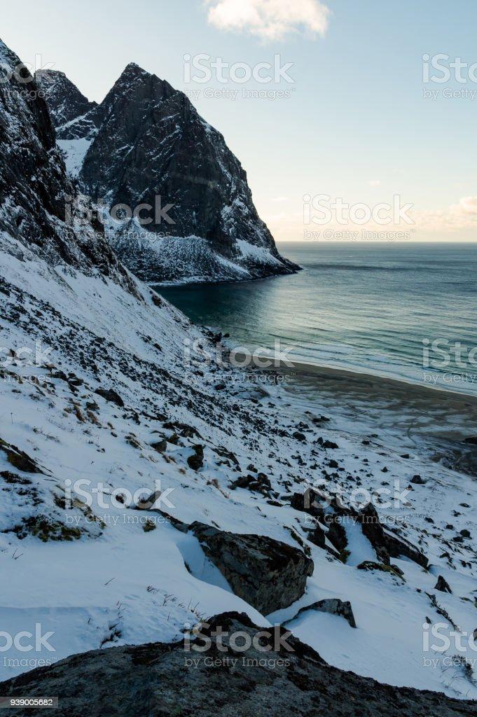 Kvalvika Beach Lofoten, Norveç stok fotoğrafı